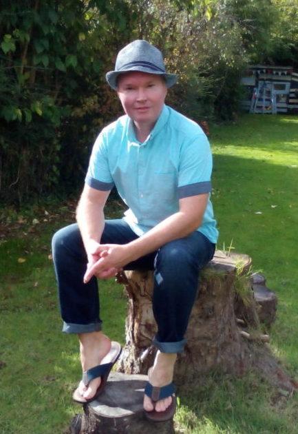 Jeff on a tree stump